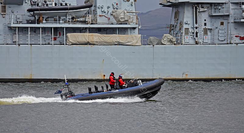 MOD Police Escort for 'HMS Argyll' (F231) passing Greenock - 6 March 2015