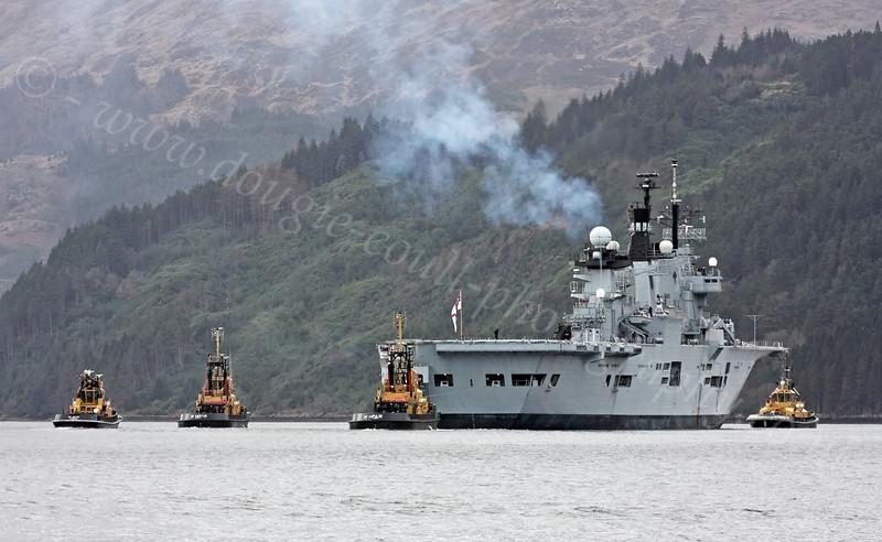 HMS Illustrious - Departs Loch Long - 13 February 2012