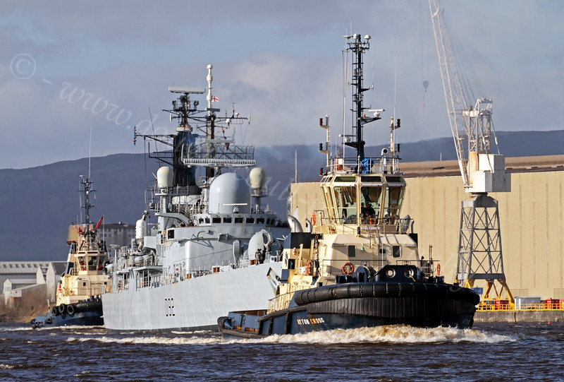 HMS Liverpool (D92) with Tugs Assisting - Approaching KGV Docks - 24 February 2012