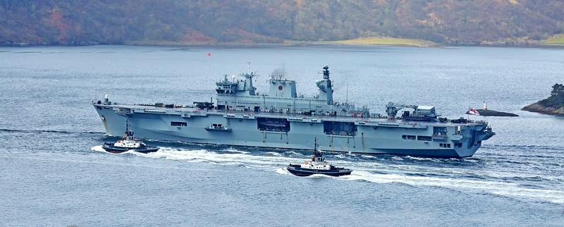 HMS Ocean heads to sea from Loch Long - 28 April 2015