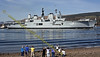 Well Wishers wave the Ark Royal from Faslane