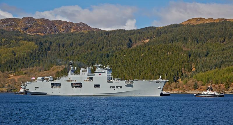 HMS Ocean passing Finnart - 25 April 2015