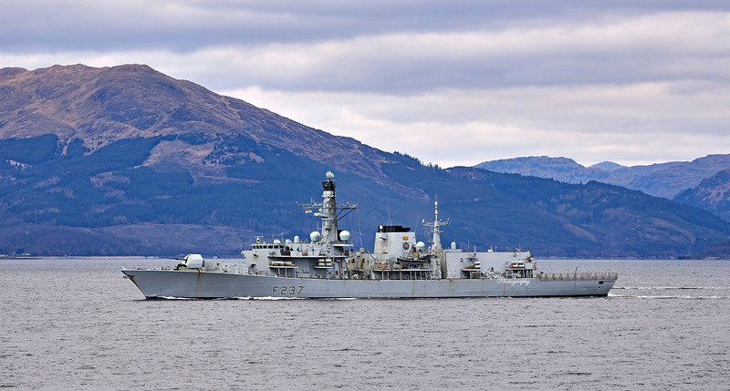 HMS Westminster (F237) at Cloch Lighthouse - 7 April 2021