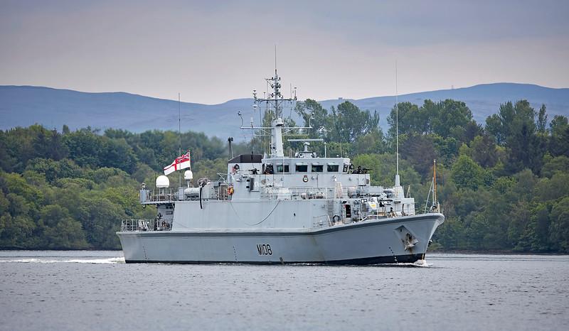 HMS Grimsby (M108) at Faslane Naval Base - 29 May 2021