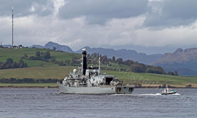 HMS Sutherland (F81) - Type 23 Frigate - Disembarking Her Pilot - 26 September 2011