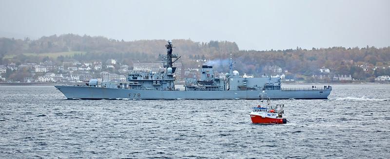 HMS Kent (F78) off Cloch Lighthouse - 26 October 2020