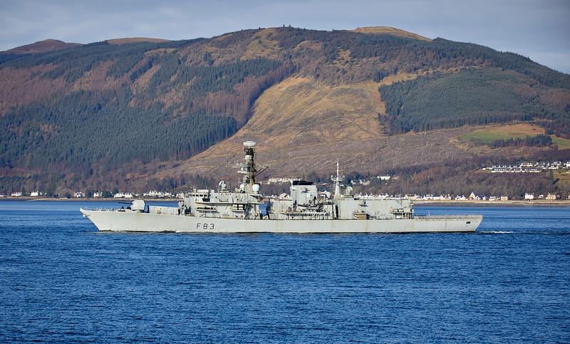 HMS St Albans (F83) off Cloch Lighthouse - 28 January 2019