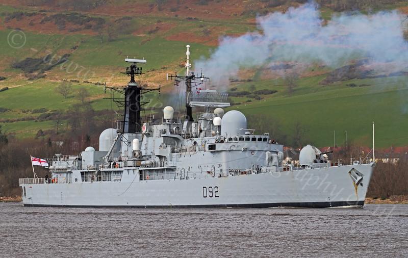 HMS Liverpool (D92) - Passing Erskine Bridge - 24 February 2012