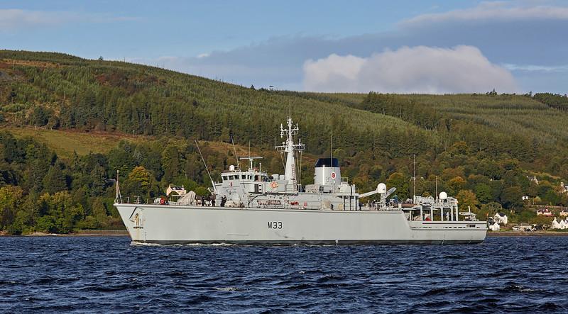 HMS Brocklesby (M33) off Rhu Spit - 14 September 2017