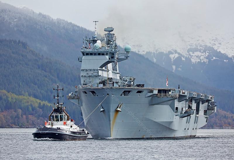 HMS Ocean departing Glen Mallan - 28 April 2015