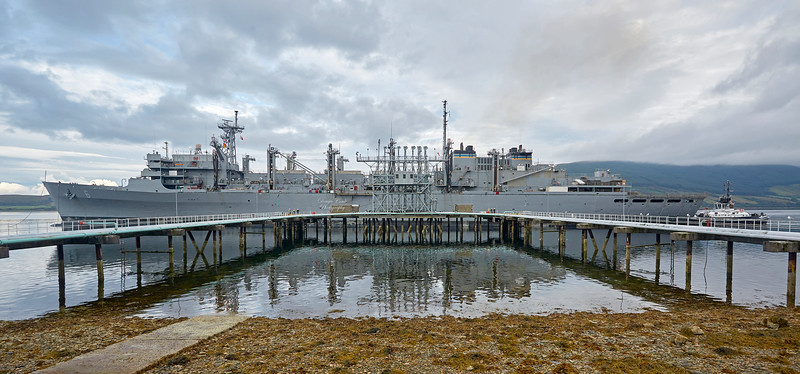 USNS Supply (T-AOE-6) at Loch Striven Jetty - 6 August 2017