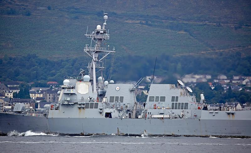 USS Truxtun (DDG-103) passing Cloch Lighthouse, Gourock - 1 August 2017