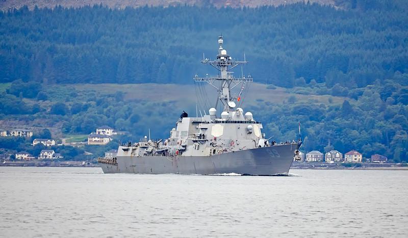 USS Farragut (DDG-99) near Cloch Lighthouse, Gourock - 27 July 2018