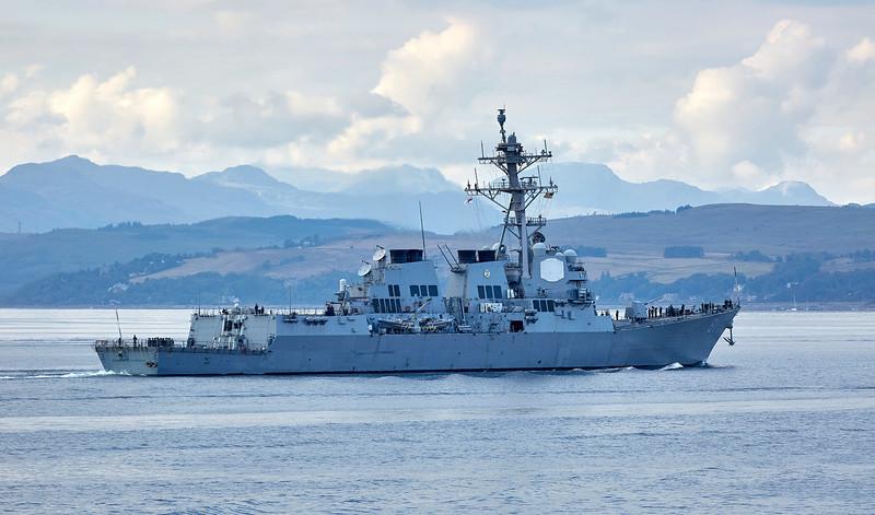 USS Winston S. Churchill (DDG-81) at Cloch Lighthouse, Gourock - 12 July 2018