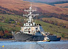 USS Warship Cole DDG 67 - MOD Police Launch Jura Heads up the Loch