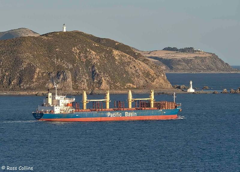 'Port Alberni' departing from Wellington, 12 April 2021