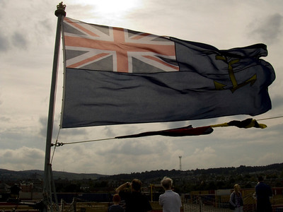 Blue ensign at the ships stern