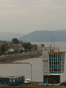 Esplanade as seen from the bridge of Fort Rosalie, with the River Clyde Pilot Station (Princes Pier) to the left