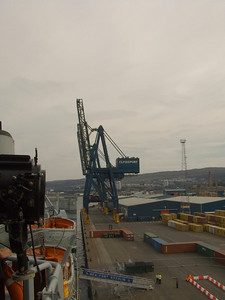 Looking back at the Clydeport Container Terminal as seen from the bridge of Fort Rosalie