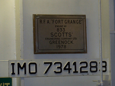 Manufacturers plate on the Fort Rosalie, showing the details of the ship when new a RFA Fort Grange