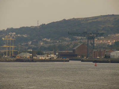James Watt Dock a seen from the Fort Rosalie with the Glenlee in the Garvel Dry Dock