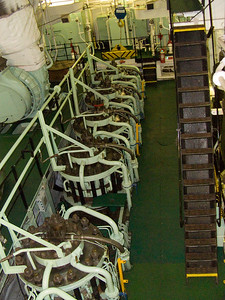 The engine room in the Fort Rosalie, showing some of the cylinders of the ships Sulzer 8 cylinder RND 90 engine