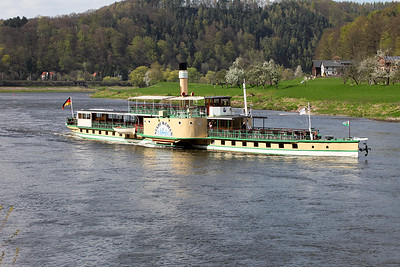 1879 built River Elbe paddle steamer STADT WEHLEN passes Königstein on a lightly loaded southbound trip from Dresden. Wednesday 20th April 2015.