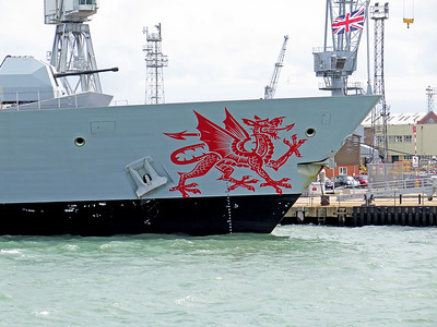 Image on the bow of HMS DRAGON. Berthed at Portsmouth. Wednesday 3rd August 2016.