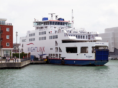 Wightlink ferry St. CLARE, IMO 9236949 loading at Portsmouth.  Wednesday 3rd August 2016.