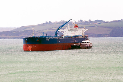 Tanker TRUE taking on bunkering from CAP MEJEAN off Falmouth. Thursday 4th April 2013.