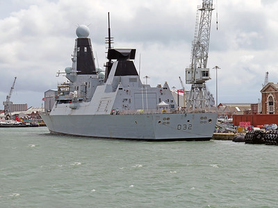 Type 45 Destroyer HMS DARING D32, berthed at Portsmouth. Wednesday 3rd August 2016.