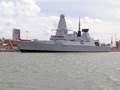 Type 45 Destroyer HMS DIAMOND D34, berthed at Portsmouth. Wednesday 3rd August 2016.