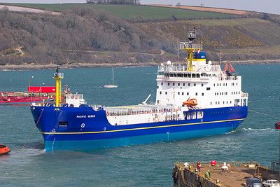 PTNL's Nuclear Fuel Transporter,  'PACIFIC HERON' IMO 9372913 leaving dry docking at Falmouth Docks on Thursday 4th April 2013.