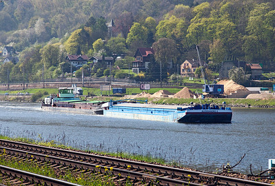 Barge ALESSANDRO approaches the lock system at Strekov on the River Elbe. Thursday 21st April 2016.