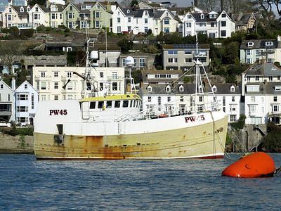 Trawler CHARISMA, PW45, MMSI 235003310. River Fowey awaiting dry docking at Polruan. 11th April 2016.