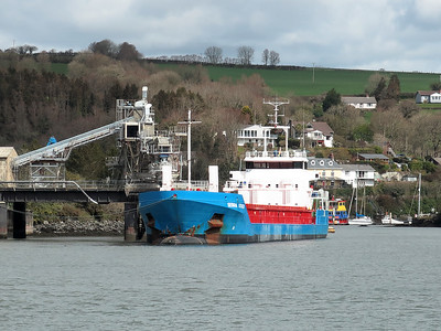 Turkish flagged coaster SERRA ATASOY, IMO 9579468. Loading China Clay at Carne Point, River Fowey. She sailed on the evening tide for Damietta, Egypt. Monday 11th April 2016.