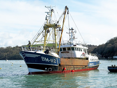 Trawler SYLVIA-T, BM-112. Fowey 11th April 2016 after dry docking at Polruan.