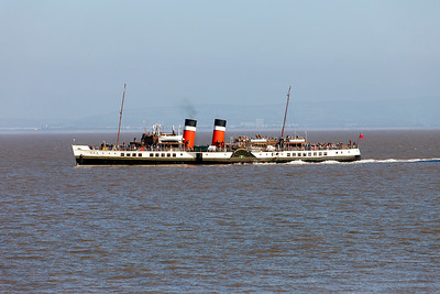 Paddle steamer Waverley departs from Clevedon Pier for Ilfracombe. Tuesday 2nd September 2014.
