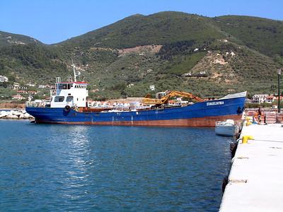 Coaster EVAGELISTRIA IMO 7120823 loading stone Skopelos Harbour. June 2005.