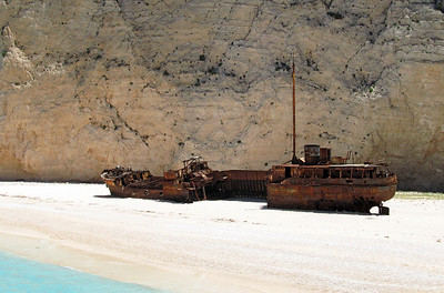 PANAGIOTIS, Shipwreck Beach, Zakynthos, 8th June 2012. Built in 1937 at Bowling on the River Clyde by Scott & Sons. In 1980 whilst believed to be engaged in smuggling cigarettes from Turkey it ran aground on rocks in a storm whilst being chased by the Greek Navy and was washed onto the beach.