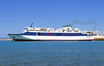 IONIAN STAR departing from Zakynthos Harbour for the mainland. 7th June 2012.