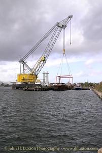 Raising LCT 7074 from the East Float, Birkenhead Docks on October 18, 2014