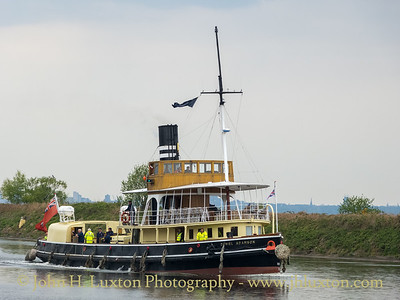 The DANIEL ADAMSON passing Ellesmere Port on the Manchester Ship Canal heading for the Weaver Navigation and her seasonal berth at Sutton Weaver in preparation for the 2021 season.