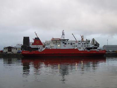 Sound Of Shuna tied up at the northern end of the dock with the Isle Of Lewis in dry dock behind at the Garvel Dry Dock Company's works