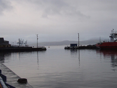 Looking west in the James Watt Dock. At one time there was a tidal gate here. The vessel signals are still in place at either side of the dock's entrance