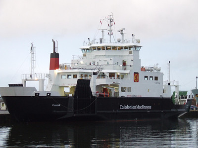 Caledonian MacBrayne's ferry Coruisk, sitting in James Watt Dock