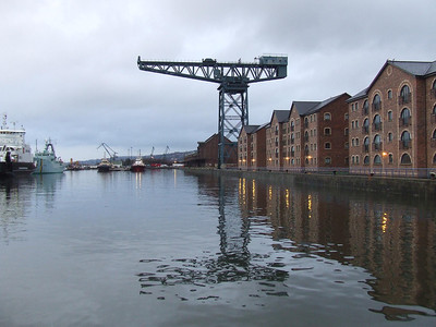 Another view east along the James Watt Dock. The Titan Crane has lost it's hook and lifting gear from the jib, and is mothballed and out of use.
