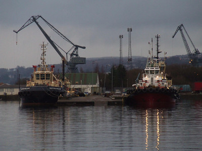 Tugs berthed at the James Watt Dock. The tug to the left is Svitzer Mallaig, and on the right is the Keverne