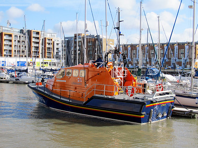 Tamar Class Lifeboat 16-13 'Victor Freeman', part of the relief fleet. Portishead Marina. Sunday 16th February 2014.
