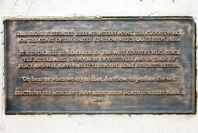 The plaque on a stone plinth on the headland at Battey Point, Portishead. July 2010.